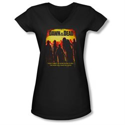 Dawn Of The Dead Science Fiction Zombie Movie Title Juniors V-Neck T-Shirt Tee