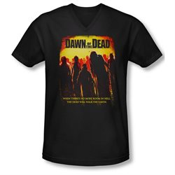 Dawn Of The Dead Science Fiction Zombie Movie Title Adult V-Neck T-Shirt Tee