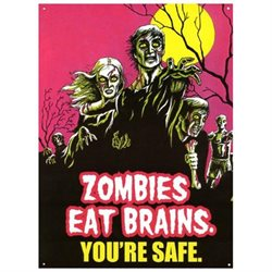TarrKenn Zombies Eat Brains Tin Sign