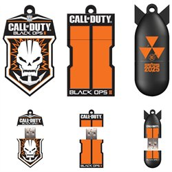 EP Memory Call of Duty: 3 Pack Black Ops II 16GB USB Flash Drive, Badge Columns, Bomb - 16 GB - USB 2.0 - Black - 3 Pack - Badge/Columns/Bomb