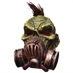 Mens Bio Zombie Full Overhead Latex Gas Mask With Hair