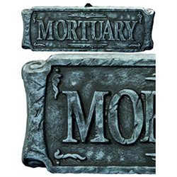 Large Faux-Stone Mortuary Halloween Decoration Morg Sign