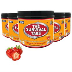 Survival Tabs 35-day food Supply - Survival Bugout Emergency Food Replacement - Strawberry Flavor (90 tabs/ bottle x 5)