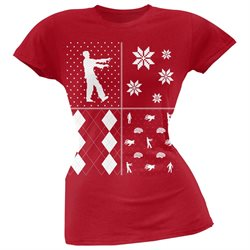 Zombies Festive Blocks Ugly Christmas Sweater Red Soft Juniors T-Shirt
