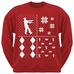 Zombies Festive Blocks Ugly Christmas Sweater Red Sweatshirt