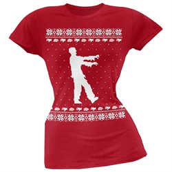 Big Zombie Ugly Christmas Sweater Red Soft Juniors T-Shirt