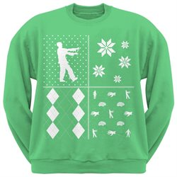 Zombies Festive Blocks Ugly Christmas Sweater Green Sweatshirt