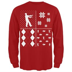 Zombies Festive Blocks Ugly Christmas Sweater Long Sleeve T-Shirt