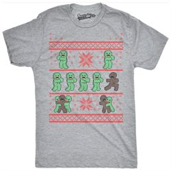 Mens Gingerbread Zombies Ugly Christmas Sweater T shirt GREY