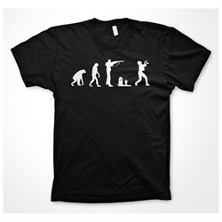 Zombie evolution T Shirt Funny Evolution of Man Walking Dead Shirt (Black)