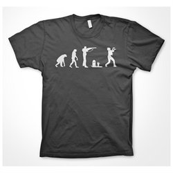 Zombie evolution T Shirt Funny Evolution of Man Walking Dead Shirt (Grey)