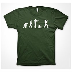Zombie evolution T Shirt Funny Evolution of Man Walking Dead Shirt (Green)