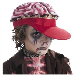 Kids Scary Gross Zombie Halloween Costume Brain Hat
