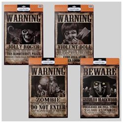 Signs 2Pk Wanted/Beware Paper 15X11In Witch/Zombie/Pirate/Doll, Case of 48