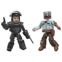 The Walking Dead Minimates Series 3: Riot Gear Rick and Guard Zombie (Set of 2)