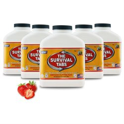 Survival Tabs Emergency Food Supply Tablets - 5 Bottles: Strawberry Flavor (Non-GMO, Gluten-Free, 25 Year Shelf Life)