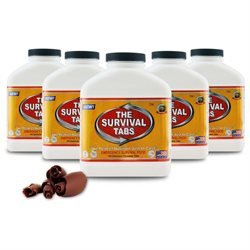 Survival Tabs Emergency Food Supply Tablets - 5 Bottles: Chocolate Flavor (Non-GMO, Gluten-Free, 25 Year Shelf Life)