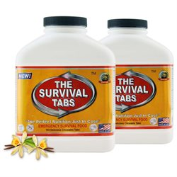 Survival Tabs Emergency Food Supply Tablets - 2 Bottles: Vanilla Malt Flavor (Non-GMO, Gluten-Free, 25 Year Shelf Life)