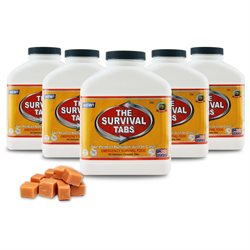 Survival Tabs Emergency Food Supply Tablets - 5 Bottles: Butterscotch Flavor (Non-GMO, Gluten-Free, 25 Year Shelf Life)