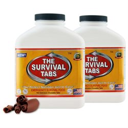 Survival Tabs Emergency Food Supply Tablets - 2 Bottles: Chocolate Flavor (Non-GMO, Gluten-Free, 25 Year Shelf Life)