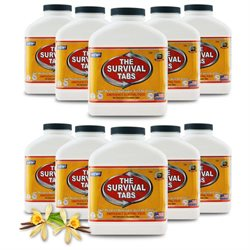 Survival Tabs Emergency Food Supply Tablets - 10 Bottles: Vanilla Malt Flavor (Non-GMO, Gluten-Free, 25 Year Shelf Life)