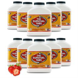 Survival Tabs Emergency Food Supply Tablets - 10 Bottles: Strawberry Flavor (Non-GMO, Gluten-Free, 25 Year Shelf Life)