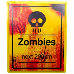 19 x 16 Zombies 200km Sign Halloween Prop Indoor & Outdoor