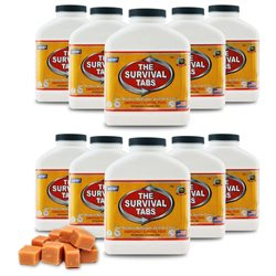 Survival Tabs Emergency Food Supply Tablets - 10 Bottles: Butterscotch Flavor (Non-GMO, Gluten-Free, 25 Year Shelf Life)