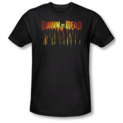 Mens DAWN OF THE DEAD Short Sleeve WALKING DEAD Large Slim Fit T-Shirt Tee