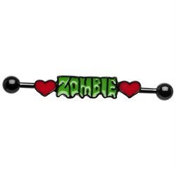 Zombie Love Double Heart Industrial Barbell