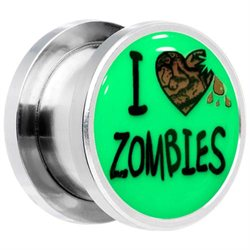 18mm Steel I Heart Zombies Glow in the Dark Screw Fit Plug