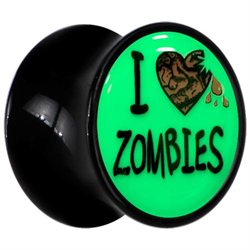 20mm Black Acrylic I Heart Zombies Glow in the Dark Saddle Plug