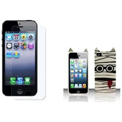Apple iPhone 5/5S Case, Insten Zombie TPU Rubber Candy Skin Case Cover for Apple iPhone 5/5S w/ Clear Film, White/Black