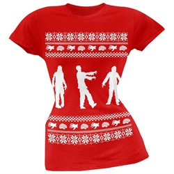Zombie Ugly Christmas Sweater Red Soft Juniors T-Shirt
