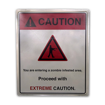 19 Inch Caution Zombie Area Sign - Decorations
