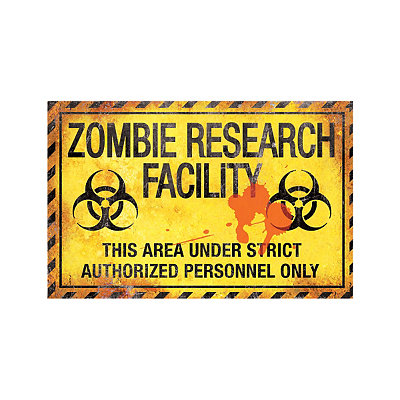 17 Inch Zombie Research Metal Sign - Decorations