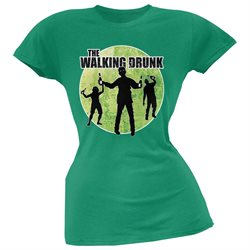 St. Patricks Day - The Walking Drunk Kelly Green Soft Juniors T-Shirt