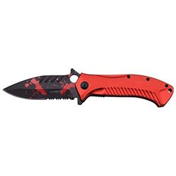 Zombie Hunter Spring Assist Tactical Survival Pocket Knife Blade Red Aluminum ZB085RD